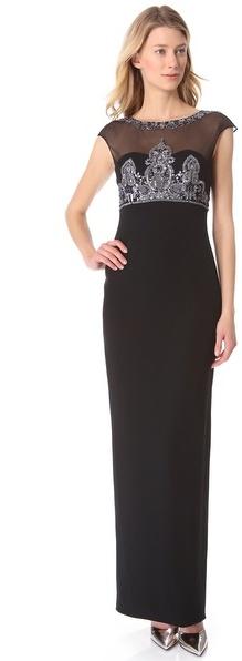 Notte by Marchesa Illusion Neckline Gown