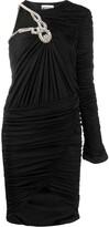 Moschino one-shoulder embellished ruched dress