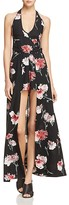 Band of Gypsies Floral Halter Walk Through Maxi Romper