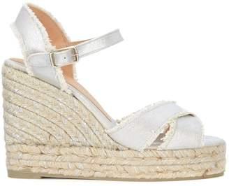 Castaner Bromelia Silver Fabric Wedge Sandal With Fringe