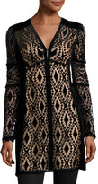 Nanette Lepore Long-Sleeve Velvet Lace Tunic, Black