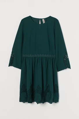 H&M Lace-detail Dress - Green