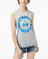 Hybrid Juniors' Pink Floyd Lace-Trimmed Graphic Tank Top