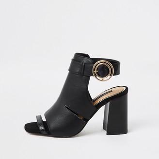 River Island Womens Black cut out shoe boot