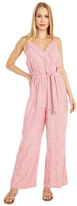Vince Camuto Sleeveless Tranquil Stripe Wrap Front Jumpsuit (Bright Ladybug) Women's Jumpsuit & Rompers One Piece