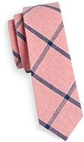 Haight And Ashbury Slim Big Plaid Linen-Blend Tie