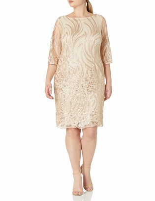 Brianna Women's Plus Size Border Pattern Sequin Embroidered Shift Dress