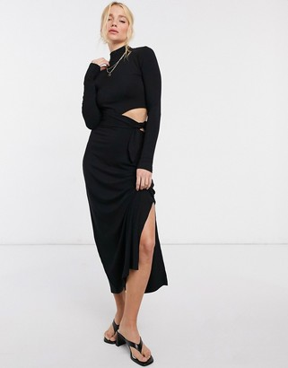 And other stories & eco cut-out knit dress in black