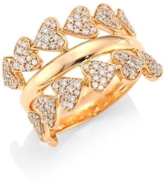 Hueb Hearts Diamond & 18K Rose Gold Ring