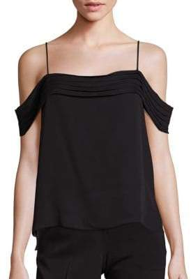 Alexander Wang Silk Georgette Pleated Off-the Shoulder Top