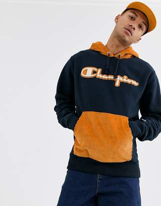 Champion Reverse Weave hoodie with corduroy hood and pocket in navy
