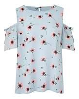 Fashion World Blue Floral Cold Shoulder Shell Top