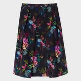 Paul Smith Women's Navy Silk Skirt With 'Ocean Floral' Print