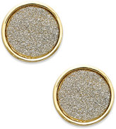 ABS by Allen Schwartz Gold-Tone Gray Texture Round Stud Earrings