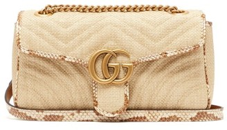 Gucci Gg Marmont Quilted Shoulder Bag - Womens - Beige Multi