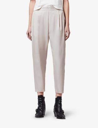 AllSaints Alva cropped high-rise crepe trousers