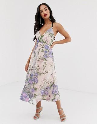 Asos Edition EDITION strappy back embroidered midi dress-Multi
