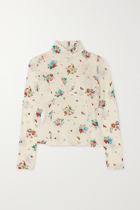 Paco Rabanne Floral-print Stretch-crepe Turtleneck Top - Ivory