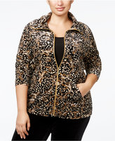 Karen Scott Plus Size Animal-Print Velour Jacket, Only at Macy's