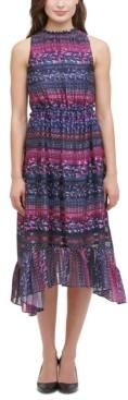 Kensie Printed Tiered High-Low Dress