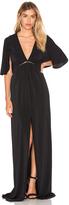 Halston Flounce Sleeve Gown