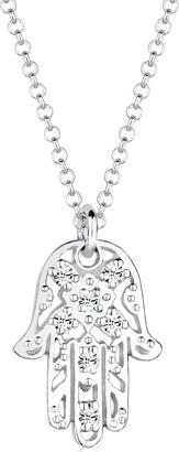 Elli Women's 925 Sterling Silver Xilion Cut Swarovski Crystals Hamsa Hand Pendant Necklace - 45cm length