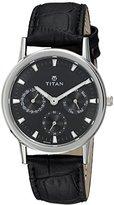 Titan Women's 'Neo' Quartz Metal and Leather Casual Watch, Color:Black (Model: 2557SL03)