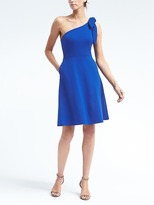 Banana Republic One-Shoulder Ponte Fit-and-Flare Dress