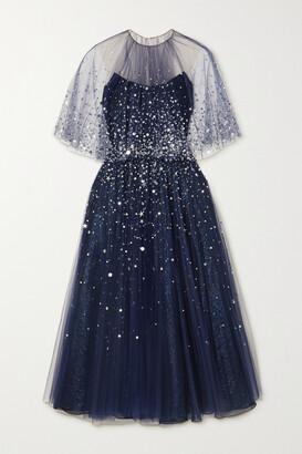 Oscar de la Renta - Sequin-embellished Tulle And Silk-blend Lame Gown - Blue