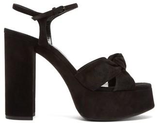 Saint Laurent Bianca Knot-front Suede Platform Sandals - Black