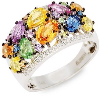 Effy 14K White Gold Multi-Color Sapphire Diamond Cluster Ring