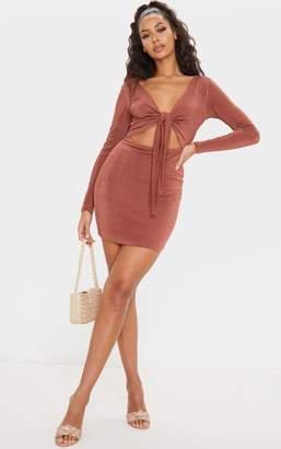 PrettyLittleThing Champagne Textured Slinky Tie Front Bodycon Dress