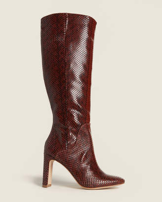Louise et Cie Burnt Tawny Waldron Snakeskin-Effect Knee-High Boots