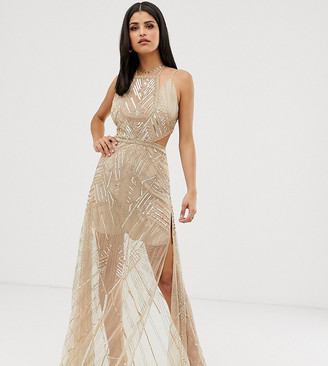 Asos Tall DESIGN Tall maxi dress with geometric embellishment and sheer panels-Gold