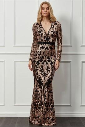 Goddiva Embroidered Sequin & Mesh Maxi Dress - Champagne