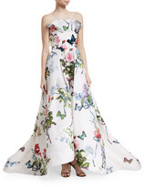 Monique Lhuillier Ruffle-Neck Floral-Print Evening Gown with Train