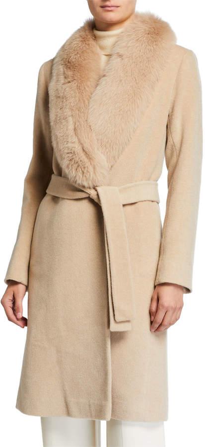 Fleurette Fox Fur-Trimmed Wool Wrap Coat