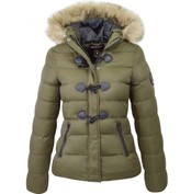 Thumbnail for your product : Brave Soul Womens Ladies Designer Faux Fur Hooded Short Jacket Quilted Puffer Padded Coat UK 10 / Small Khaki