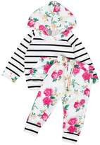 TONSEE 2Pcs Infant Baby Boy Girl Hooded Floral Tops +Pants
