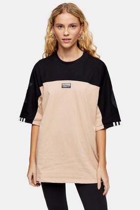 adidas Womens Panel Oversized T-Shirt By Washed Taupe