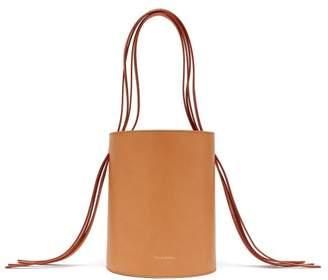 Mansur Gavriel Fringe Pink-lined Leather Bucket Bag - Womens - Tan