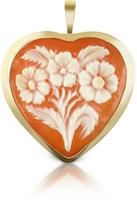 Del Gatto Floral Heart Cornelian Cameo Pendant/Pin