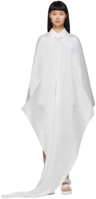 Pleats Please Issey Miyake White Basic Madame-T Shawl