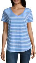 A.N.A a.n.a Striped Boyfriend Tee Short Sleeve V Neck Stripe T-Shirt-Womens