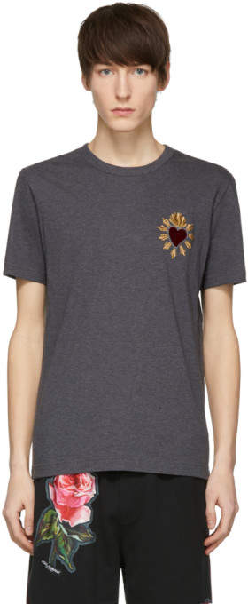 Dolce & Gabbana Grey Sacre Coeur Patch T-Shirt