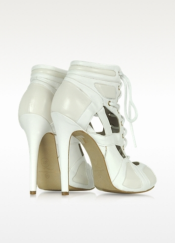 McQ Sport Cutout White Leather Bootie