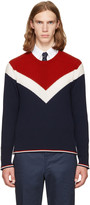 Thom Browne Tricolor Saddle Sleeve Crewneck Pullover