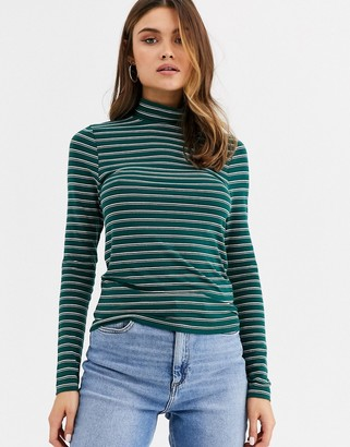 Asos DESIGN turtle neck long sleeve top in stripe