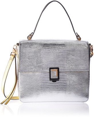Luana Italy Women's Carmen Satchel Silver Lizard and Gold Gusset Leather Handbag