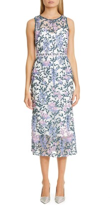 Marchesa Floral Embroidery Midi Dress